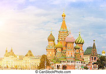 Moscow view with Saint Basil's Cathedral - Saint Basil's...