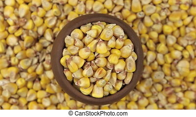 Slow rotation of the grain of corn in a pot made of red...