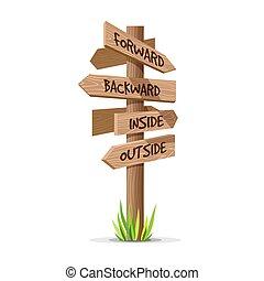 Wooden arrow vector direction signboard