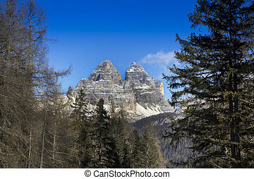 Panoramic views of Dolomites mountains Tre Cime di Lavaredo
