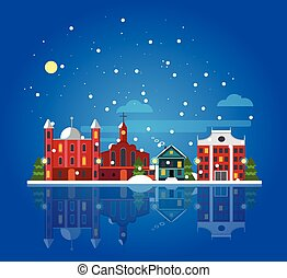 Flat Winter City Landscape Template