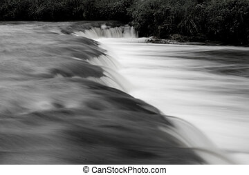 black and white waterfall - scenic black and white landscape...