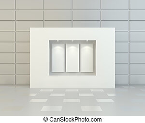 Blank white posters in showcase with reflection on the tile....