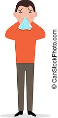 Vector cartoon man caught cold, sneeze, ill flu - Vector...