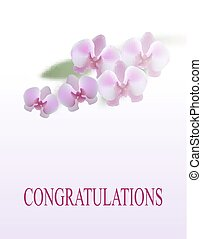 Greeting card. Beautiful purple orchid flowers and leaves. Isolated on white background. illustration