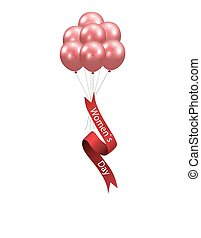 Women s Day Seven red balloons and a ribbon with the inscription. illustration