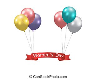 Women s Day Multicolored balloons and a ribbon with the inscription. illustration