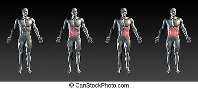 Abdominal Injury with Red Glow on Area Series