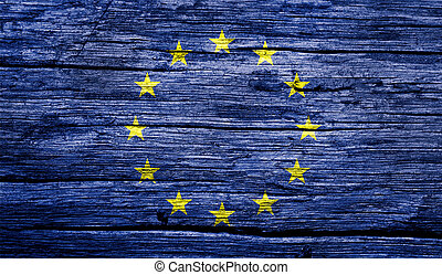 European Union flag in the old retro background effect