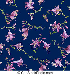Seamless pattern with branches purple hosta flower. Lilies....