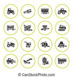 Set round icons of agricultural machinery isolated on white....