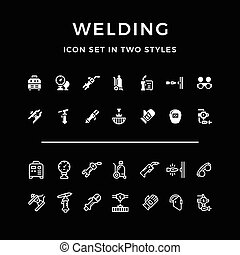 Set icons of welding in two styles isolated on black. Vector...