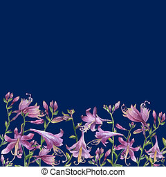 The frame of the branches with purple hosta flower. Lilies....