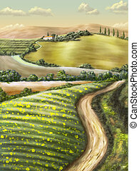 Rural landscape - Farmland in Tuscany, Italy. Original...