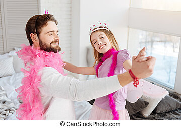 Daddy and daughter going to dance
