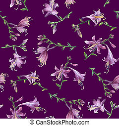 Seamless pattern with branch of purple hosta flower. Lilies....