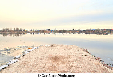 View of Neva River. - View of Neva River at cloud spring...