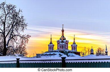Brusensky monastery in Kolomna at sunset in winter