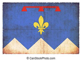 Grunge flag of Alpes-de-Haute-Provence (France) - Flag of...