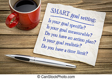 SMART goal setting - napkin concept - tips and questions on...