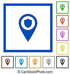 Police station GPS map location flat framed icons