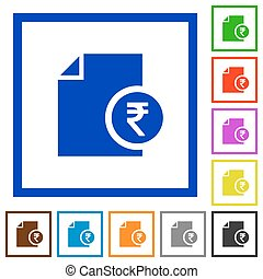 Indian Rupee financial report flat framed icons - Indian...