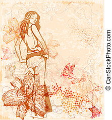 girl over floral background