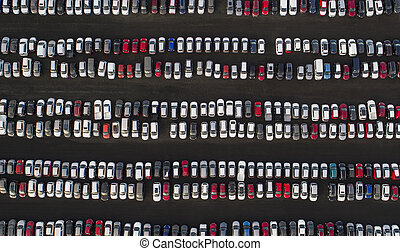 Parked cars - Aerial image of rows of parked cars
