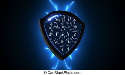 Abstract background with Security Shield. Cyber Background....