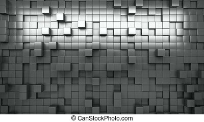 3D rendering. Black and white extruded cubes. Abstract...