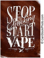Poster start vape brown - Poster with vaporizer in vintage...