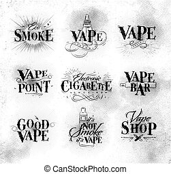 Poster start vape - Poster with vaporizer in vintage...