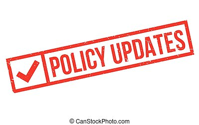 Policy Updates rubber stamp. Grunge design with dust...
