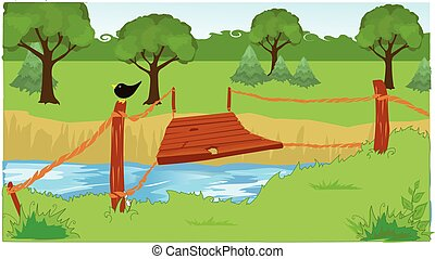 suspension bridge - The wooden suspension bridge over the...