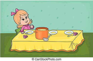 a dining table - The little girl for the dining table.