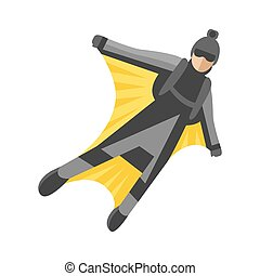 Skydiver man foreground extreme sport freedom flat character...