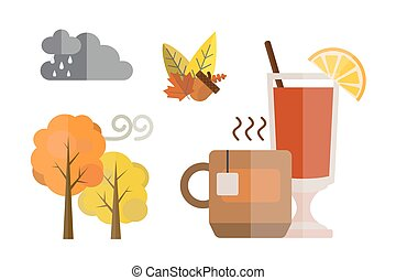 collection of autumn set items the fall acorn leaves tree...