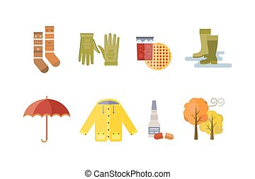 autumn clothes set items the fall tree rain clouds cold...