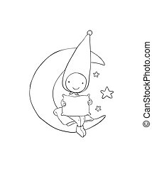 Cute gnome on the moon. Pillow and blanket. for children...