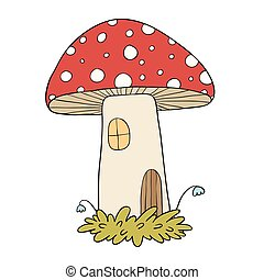 House for gnomes. Fly Agaric Mushrooms. Vector illustration...