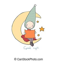 Cute gnome on the moon. Pillow and blanket. for children design.