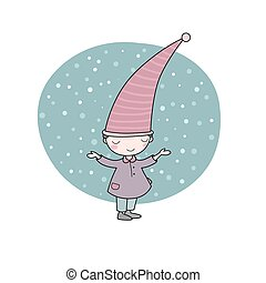 Cute little gnome. Elf and snow. isolated objects on white...