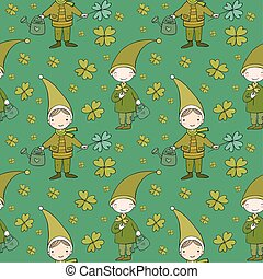 Pattern with cute gnomes. Clover and watering. Vector...
