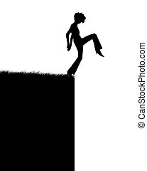 Jump - Illustration of the person which jumps in a precipice