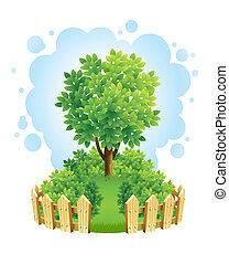 tree on green lawn with wooden fence vector illustration...