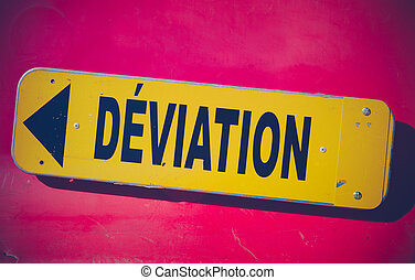 French Detour Sign - Retro Style Vibrant Red And Yellow...