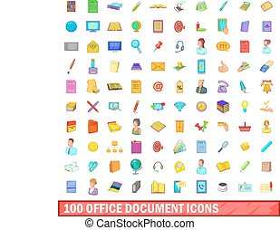 100 office document icons set, cartoon style