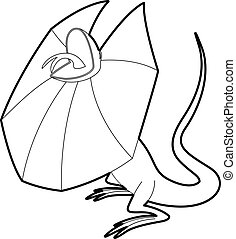 Frill necked lizard icon, outline style - Frill necked...
