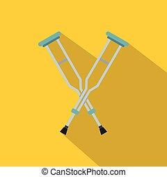 Crutches icon, flat style - Crutches icon. Flat illustration...