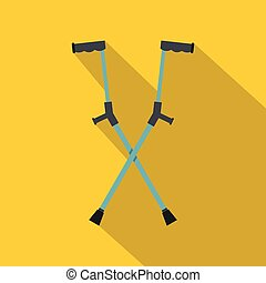 Other crutches icon, flat style - Other crutches icon. Flat...